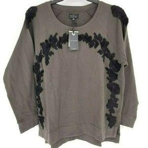 Lucky Brand Embroidered RChenille Sweatshirt 1X B4